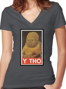 Y THO - MEME (OBEY) Women's Fitted V-Neck T-Shirt