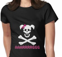 GIRL SKULL AND CROSSBONES PIRATE FEMALE JOLLY ROGER PINK BOW AAARRRGGG Womens Fitted T-Shirt