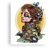 Lady in the Flowers Canvas Print