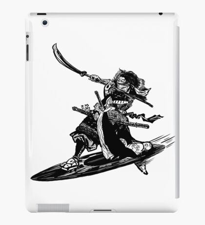 Samurai with Sword on a Surfboard iPad Case/Skin