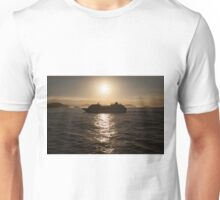Cruise ship at sunset Unisex T-Shirt
