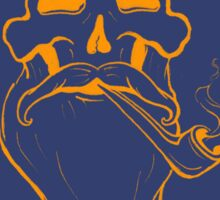 Blue and Orange Mustache Skull Sticker