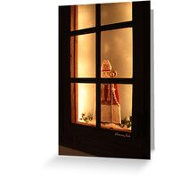 Little Antique Santa in the Window Greeting Card