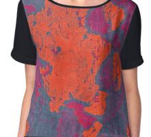 Map Composition. Red And Blue Neon Pattern Chiffon Top