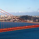 Golden gate bridge and a container ship by Hotaik  Sung