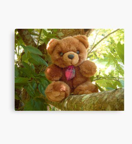 Red Tie Teddy Bear Canvas Print
