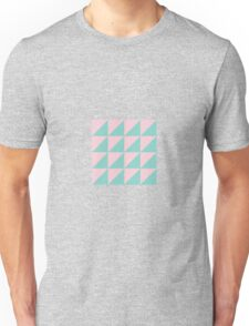 Geo Triangles in Atomic Mint + Pink Unisex T-Shirt