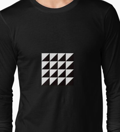 Geo Triangles in Black + White Long Sleeve T-Shirt