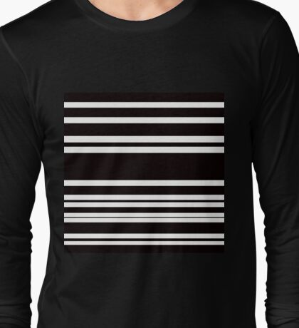 Multi Size Black + White Horizontal Stripe Long Sleeve T-Shirt
