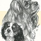 Cavalier King Charles Spaniel, Father & Son  by BarbBarcikKeith