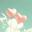 Two Pink Hearts Fly by Caroline Mint