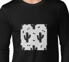 Geo Cactus in Black + White Long Sleeve T-Shirt