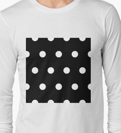 White Polka Dots on Black Long Sleeve T-Shirt