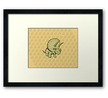 Triceratops Yellow Framed Print