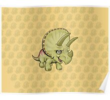 Cute Triceratops with pattern Poster