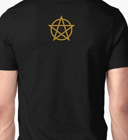 Gold Pentagram on black Unisex T-Shirt