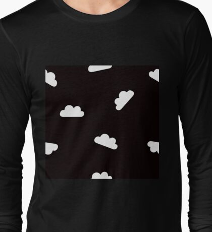 Puffy Clouds in White on Black Long Sleeve T-Shirt
