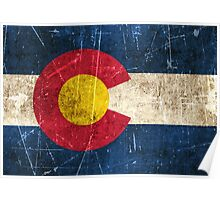Vintage Aged and Scratched Colorado Flag Poster