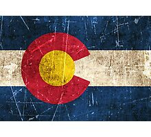 Vintage Aged and Scratched Colorado Flag Photographic Print