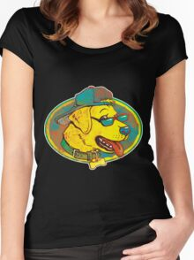 Cool Golden Retriever Dog With Shades And Hat Women's Fitted Scoop T-Shirt