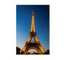 Eiffel Tower and sunset Art Print