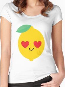 Lemon Lime Emoji Heart and Love Eye Women's Fitted Scoop T-Shirt