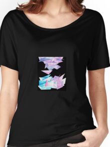 Quartz Crystal Watercolor Clusters in Black Women's Relaxed Fit T-Shirt