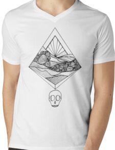 Geometric Sunset Skull (black) Mens V-Neck T-Shirt