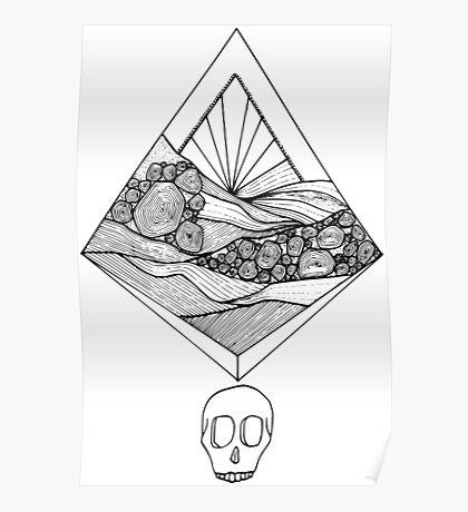Geometric Sunset Skull (black) Poster