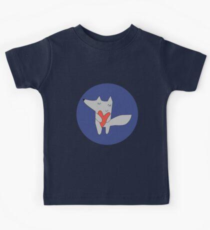 Fox in love Blue Kids Tee