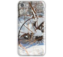Old Hay Rake in the Snow iPhone Case/Skin