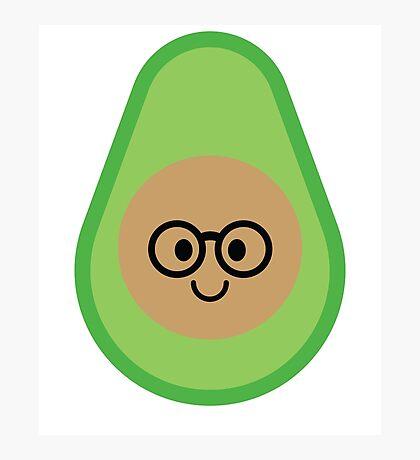 Avocado Emoji Nerd Noob Glasses Photographic Print