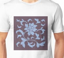 Oriental Flower - Cherry Chocolate and Serenity Blue Unisex T-Shirt