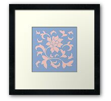 Oriental Flower - Rose Quartz and Serenity Blue Framed Print