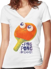Ping-pong dreamer Women's Fitted V-Neck T-Shirt