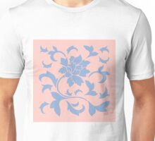 Oriental Flower - Serenity Blue and Rose Quartz Unisex T-Shirt