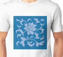 Oriental Flower - Serenity Blue and Snorkel Blue Unisex T-Shirt
