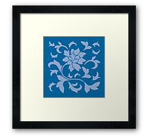Oriental Flower - Serenity Blue and Snorkel Blue Framed Print