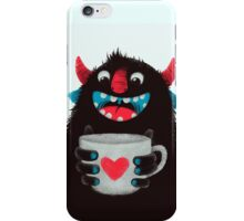 Demon with cup iPhone Case/Skin