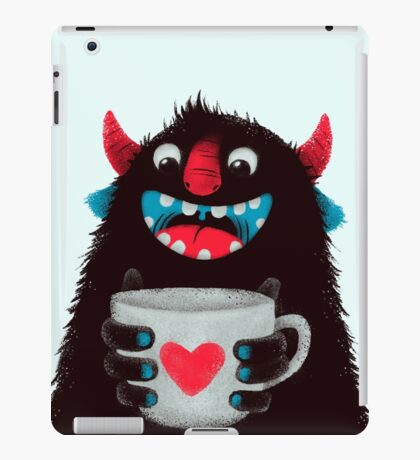 Demon with cup iPad Case/Skin