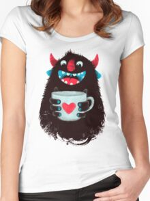 Demon with cup Women's Fitted Scoop T-Shirt