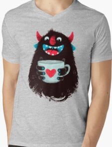 Demon with cup Mens V-Neck T-Shirt
