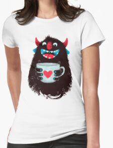 Demon with cup Womens Fitted T-Shirt