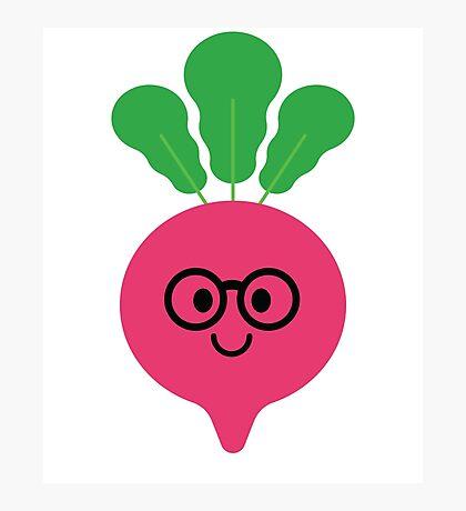Radish Emoji Noob Nerd Glasses Photographic Print