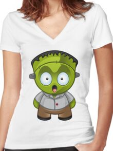 Frankenstein Monster Boy Shocked Women's Fitted V-Neck T-Shirt