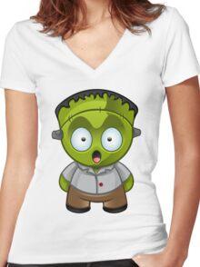 Frankenstein Monster Boy Shocked Women's Fitted V-Neck T-Shirt