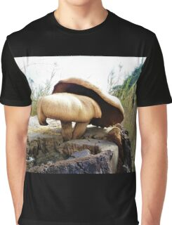 Mushrooms in Tree Stump Graphic T-Shirt