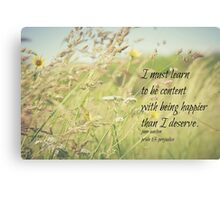 Jane Austen Content Canvas Print