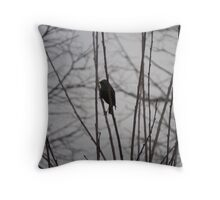 Solitary Black Bird In A Winter Tree Throw Pillow