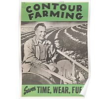 United States Department of Agriculture Poster 0143 Contour Farming Saves Time Wear Fuel Poster
